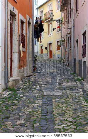 Detail of a narrow street at Lisbon, Portugal