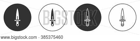 Black Dagger Icon Isolated On White Background. Knife Icon. Sword With Sharp Blade. Circle Button. V