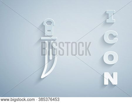 Paper Cut Dagger Icon Isolated On Grey Background. Knife Icon. Sword With Sharp Blade. Paper Art Sty