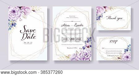 Wedding Invitation, Save The Date, Thank You, Rsvp Card Design Template. Vector. Purple Rose Flowers