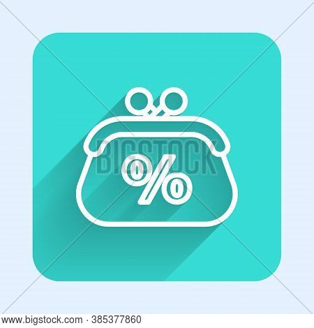 White Line Purse Money Percent Icon Isolated With Long Shadow. Percent Loyalty Wallet Sign. Green Sq