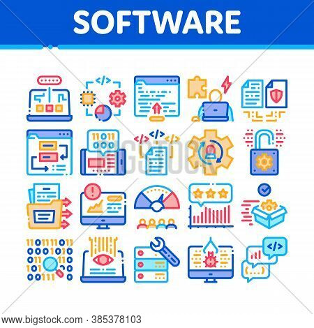 Software Testing And Analysis Icons Set Vector. Computer Software, Code And Program Test And Researc