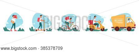 Delivery Courier Service, Express Delivering Icons Vector Flat Cartoon. Delivery Couriers On Bicycle
