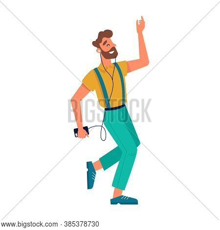 Guy Dancing With Smartphone, Listening Music In Headphones, Vector Flat Isolated Character. Young Ma