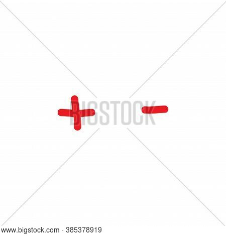 Plus And Minus Hand Drawn Signs. Red Thin Flat Vector Icons Isolated On White.