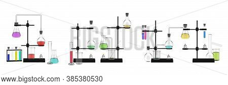 Realistic Flasks Mockup Set. Colletion Template Of Realism Style Drawn Chemical Equipment Ingredient