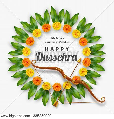 Happy Dussehra Banner. Bow And Arrow With Flower Wreath. Hindu Navratri Festival, Vijayadashami Holi