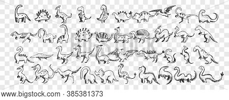 Dinosaurs Doodle Set. Collection Of Hand Drawn Comic Toy Funny Dino Characters Tyrannosaurus, Stegos
