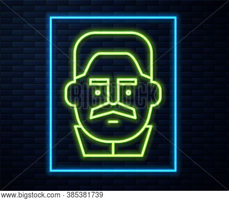 Glowing Neon Line Portrait Of Joseph Stalin Icon Isolated On Brick Wall Background. Vector