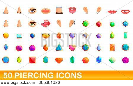 50 Piercing Icons Set. Cartoon Illustration Of 50 Piercing Icons Vector Set Isolated On White Backgr
