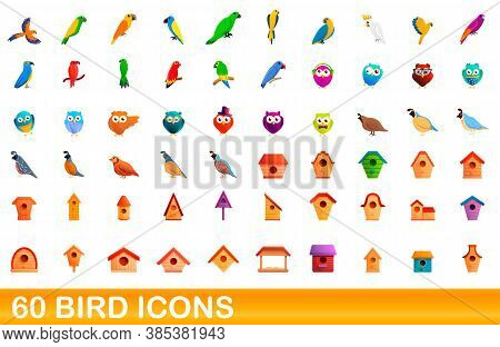 60 Bird Icons Set. Cartoon Illustration Of 60 Bird Icons Vector Set Isolated On White Background