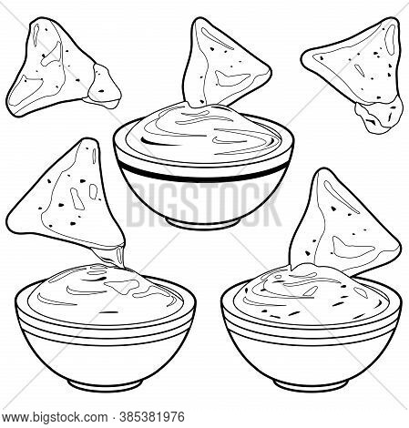 Bowls Of Avocado Guacamole Dip, Tomato Salsa, Cheese Sauce And Nachos Chips. Vector Black And White