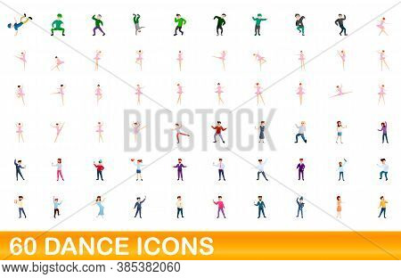 60 Dance Icons Set. Cartoon Illustration Of 60 Dance Icons Vector Set Isolated On White Background