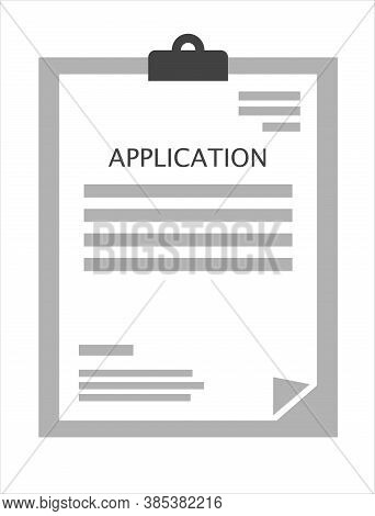 Vector Form Of The Application. Vector Icon Of The Document. Company Questionnaire To Fill Out. Clai