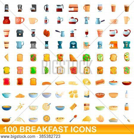 100 Breakfast Icons Set. Cartoon Illustration Of 100 Breakfast Icons Vector Set Isolated On White Ba
