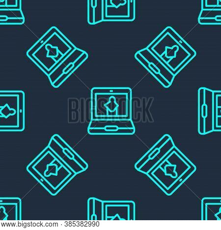 Green Line Online Museum Icon Isolated Seamless Pattern On Blue Background. Museum Gallery. Vector