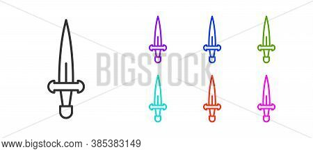 Black Line Dagger Icon Isolated On White Background. Knife Icon. Sword With Sharp Blade. Set Icons C