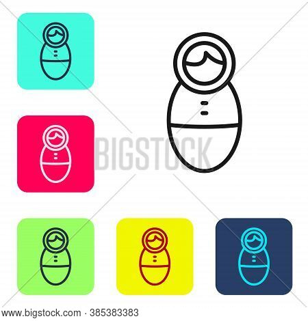 Black Line Tumbler Doll Toy Icon Isolated On White Background. Set Icons In Color Square Buttons. Ve