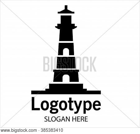 Lighthouse In Logo Style Vector. Sea Lighthouse. Lighthouse Building Logo Design Vector Template, Ic