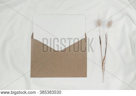 Blank White Paper Is Placed On The Open Brown Paper Envelope With Rabbit Tail Dry Flower On White Cl