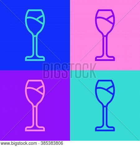 Pop Art Line Wine Glass Icon Isolated On Color Background. Wineglass Icon. Goblet Symbol. Glassware
