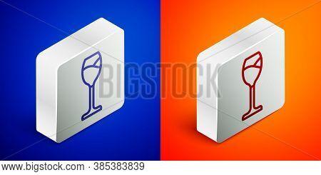 Isometric Line Wine Glass Icon Isolated On Blue And Orange Background. Wineglass Icon. Goblet Symbol