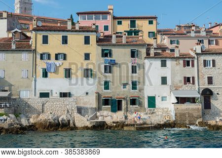 Rovinj, Croatia - July 17, 2018: Boat Trip Rovinj. View To The City.