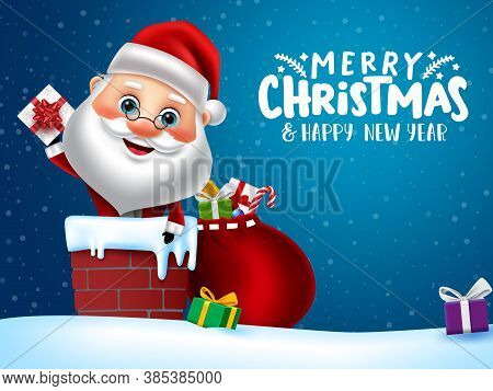 Christmas Character Santa Vector Banner Design. Merry Christmas Greeting Text With Santa Claus Chara