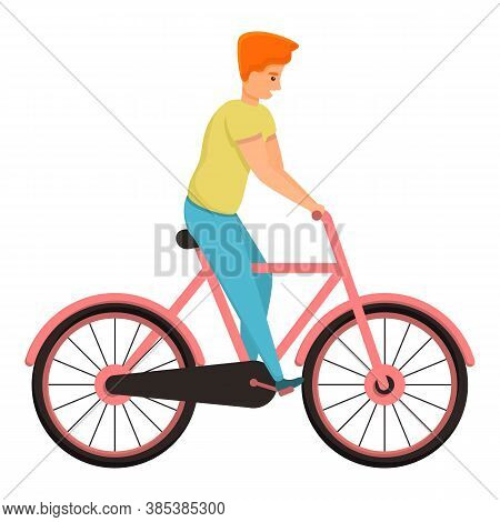 Son Ride Bike Icon. Cartoon Of Son Ride Bike Vector Icon For Web Design Isolated On White Background