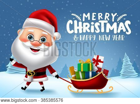Merry Christmas Santa Vector Banner Design. Merry Christmas Text With Santa Claus Character Pulling