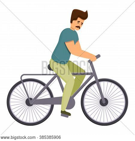 Healthy Bike Ride Icon. Cartoon Of Healthy Bike Ride Vector Icon For Web Design Isolated On White Ba