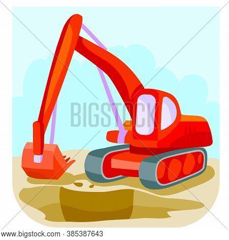 Illustration Of Cartoon Red Excavator At Construction Site, Vector Illustration, Eps