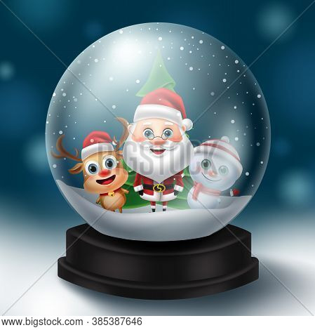 Christmas Snowball Characters Vector Concept Design. Christmas Snow Ball Element With Santa Claus, R