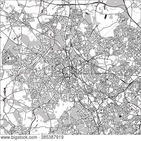 Map Of The City Of Birmingham, England