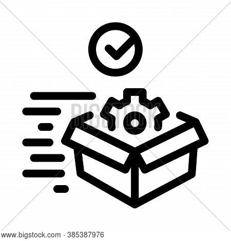 Mechanical Gear In Box, Fast Delivery Icon Vector. Mechanical Gear In Box, Fast Delivery Sign. Isola