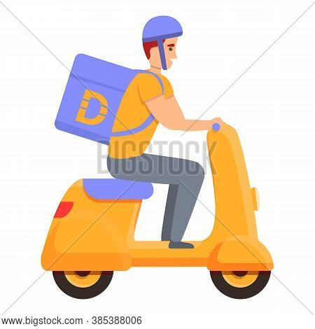 Scooter Home Delivery Icon. Cartoon Of Scooter Home Delivery Vector Icon For Web Design Isolated On