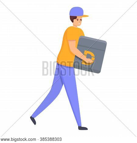 Courier Home Delivery Icon. Cartoon Of Courier Home Delivery Vector Icon For Web Design Isolated On