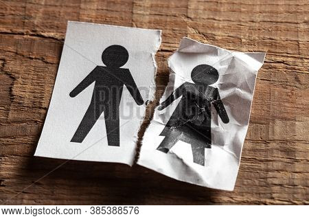 The Death Of The Spouse. Concept Of Wifes Death From Old Age Or Illness. Paper With Husband And Torn