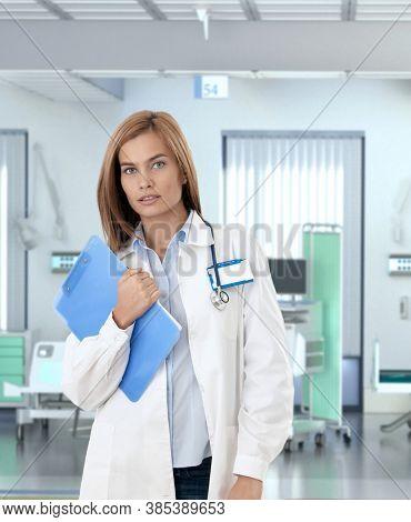 Confident caucasian female doctor in hospital room.