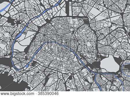 Map Of The City Of Paris, France
