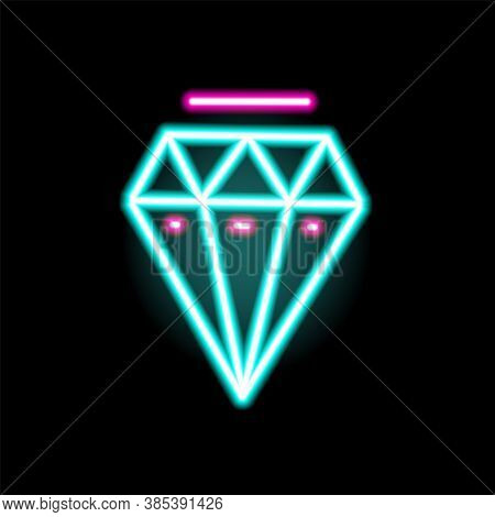Luminous Neon Diamond Symbol Vector Flat Illustration In Outline Style. Colorful Lighting Jewelry Ic