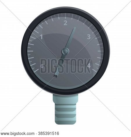 Black Manometer Icon. Cartoon Of Black Manometer Vector Icon For Web Design Isolated On White Backgr