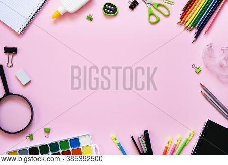 School Supplies On A Paper Pink Background. Back To School.