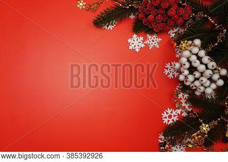 Christmas Ornament Border Frame On Red Ackground