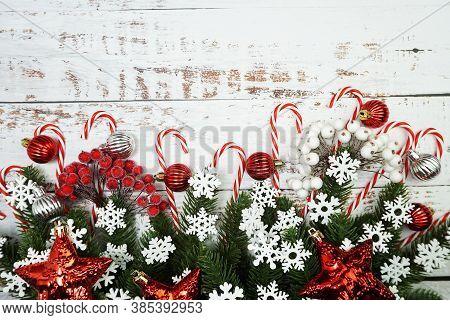 Christmas Ornament Border Frame On Wooden Ackground