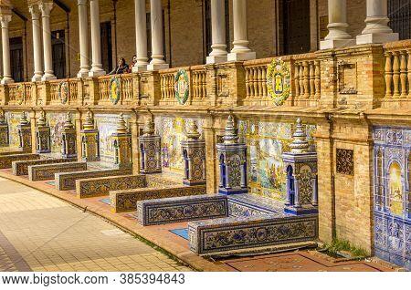 Seville, Spain - June Circa, 2020. Plaza De Espana, Famous Old Decorative Ceramics Alcove. Madrid Th