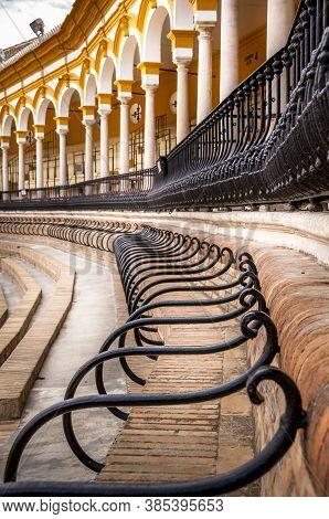 Seville, Spain - March Circa, 2020. Plaza De Toros De La Maestranza,inside, At Sevilla. Ring Where B