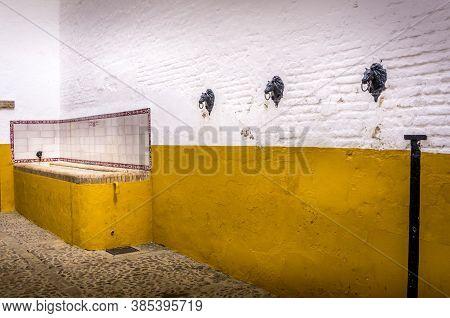 Sevilla, Spain - March Circa, 2020. View Of The Bathroom For Bull Inside Of The Plaza De Toros De La