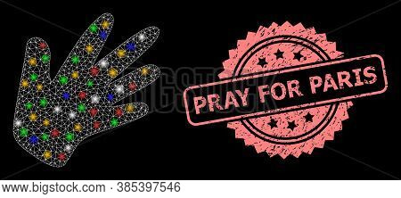 Glowing Mesh Web Hand With Bright Dots, And Pray For Paris Rubber Rosette Stamp Seal. Illuminated Ve