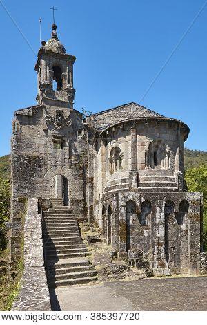 Ancient Stone Monastery In Ribeira Sacra, Caaveiro. Ourense, Galicia. Spain